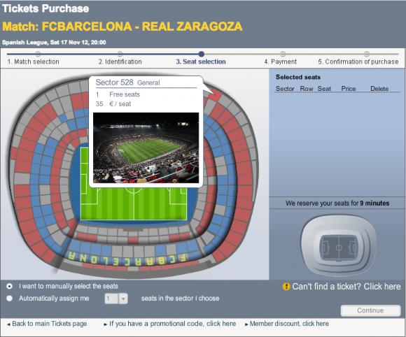 Un ejemplo de la ubicación más barata y su precio para un partido de liga contra un equipo mediano. Las entradas más baratas se consiguen para los partidos de las rondas preliminares de la Copa del Rey (10 euros), pero en cualquiera de los campeontos va aumentando según el equipo que se enfrenta y la instancia.
