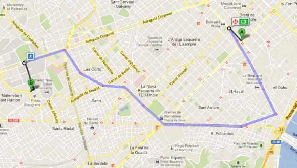 Trayecto en metro y caminata desde Plaza Catalunya hasta el Camp Nou.