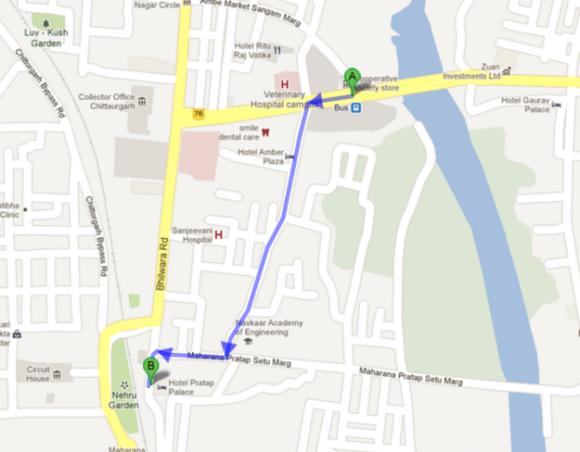 Itinerario desde la estación local de buses hasta el hotel (1 Km).