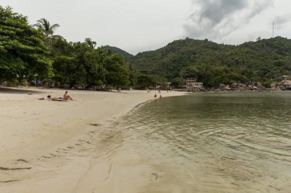 Una de las playas más lindas que vi en Samui: Tongtakian Beach un día nublado, entre Chaweng y Lamai.