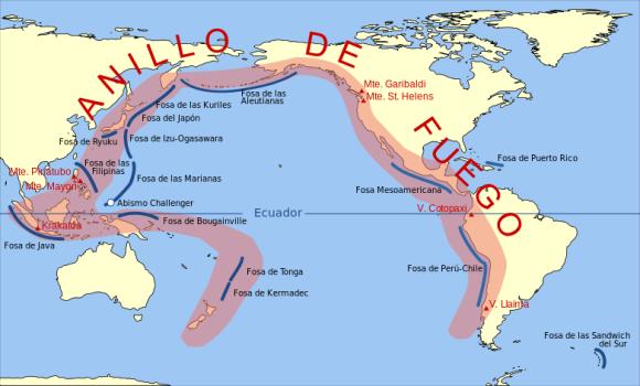 El círculo de fuego del Pacífico, del que también forma parte Indonesia.