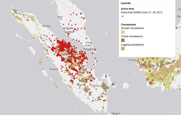 Una imagen satelital de los incendios de finales de junio en Sumatra y su distribución según las plantaciones de palm oil. (Foto: World resources institue - Foto de portada: Greenpeace).