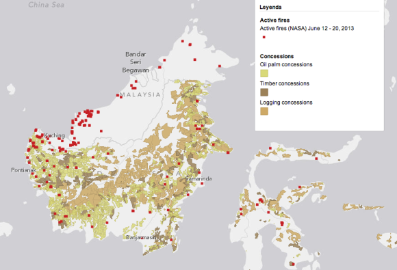 La situación forestal al mismo tiempo en Borneo (Malasia e Indonesia).