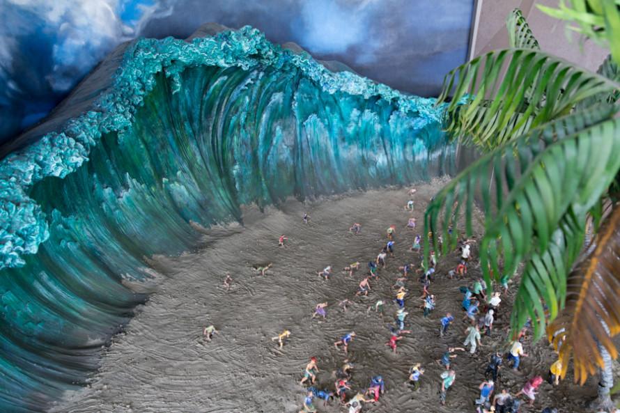 Las olas resultantes se llevaron todo lo que encontraron a su paso (maqueta del museo).
