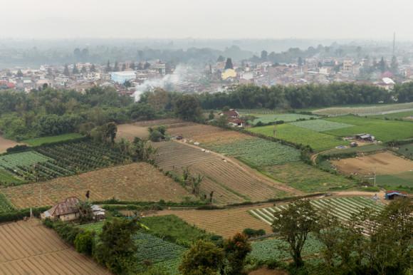 Berastagi vista desde Gundaling Hill. dicen que este monte al que se sube caminando 20 minutos desde el centro de la ciudad ofrece unos atardeceres para el recuerdo. Salvo cuando cielo encapotado.